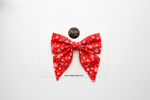 Ditsy Floral on Red Sailor Bow