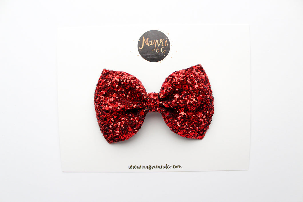 Ruby Red Glitter Bow