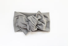 Gray Ribbed Tie-on Headwrap