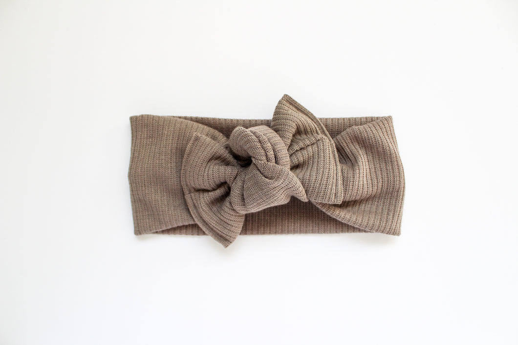 Taupe Ribbed Tie-on Headwrap