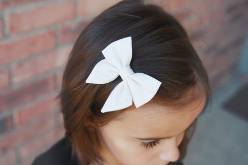 Ivory Fabric Sailor Bow