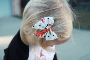 Polka Dot Floral Fabric Sailor Bow