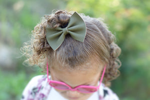 Olive Faux Leather Bow