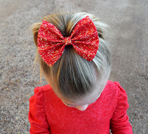 Candy Apple Glitter Bow