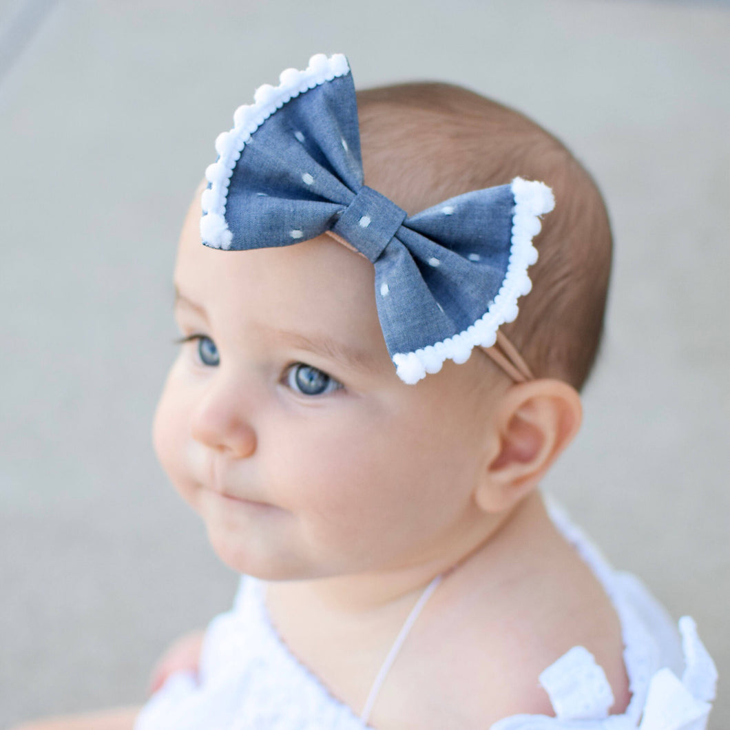 Chambray Dot Pompom Fabric Bow