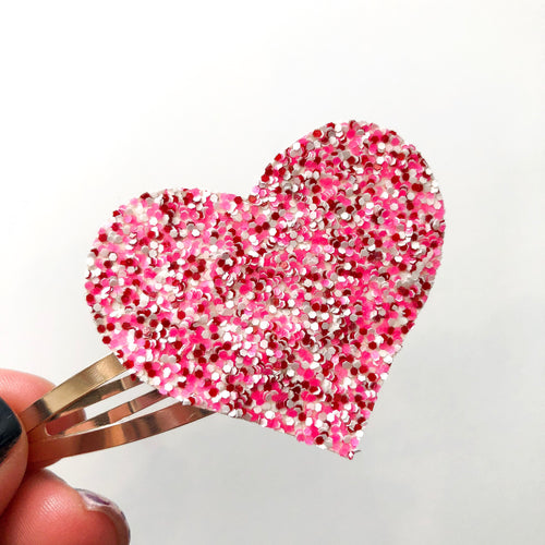 Be Mine Glitter Heart Snap Clip
