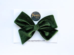 Olive Green Velvet Hand-tied Bow