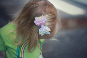 Rainbow Sherbet Glitter Dolly Bow