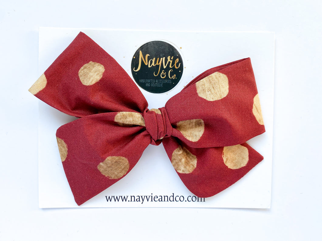 Gold Dots on Burgundy Hand-tied Bow