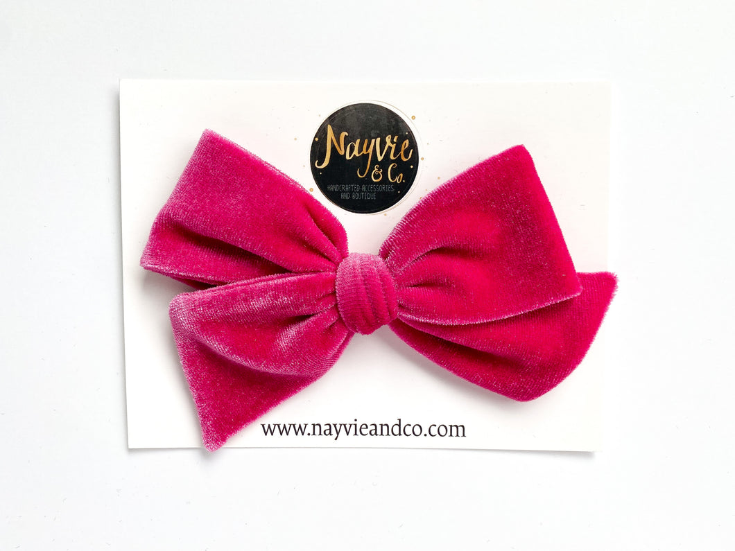 Party Pink Velvet Hand-tied Bow