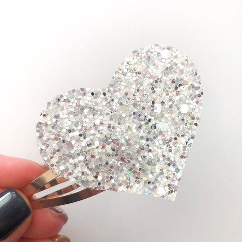 Dripping in Diamonds Glitter Heart Snap Clip
