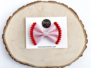 Pink with Red Pompom Fabric Bow