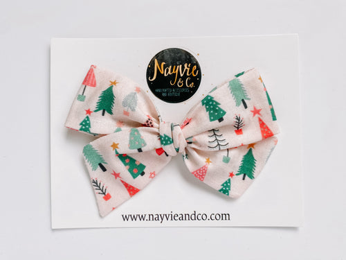 Pink Christmas Trees Hand-tied Bow