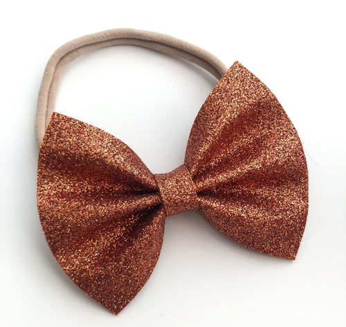 Rust Orange Felt Glitter Bow