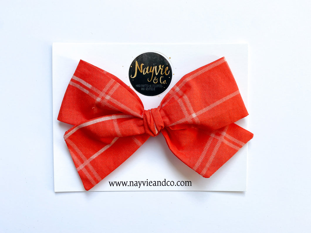 Red Tartan Plaid Hand-tied Bow