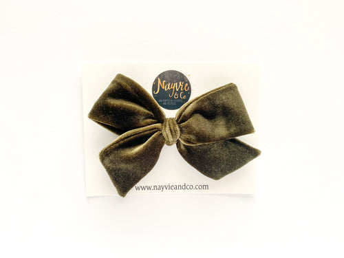 Army Green Velvet Hand-tied Bow