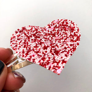 Sweetheart Glitter Heart Snap Clip