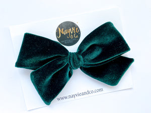 Evergreen Velvet Hand-tied Bow