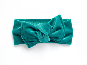 Emerald Green Velvet Chunky Knotted Headwrap
