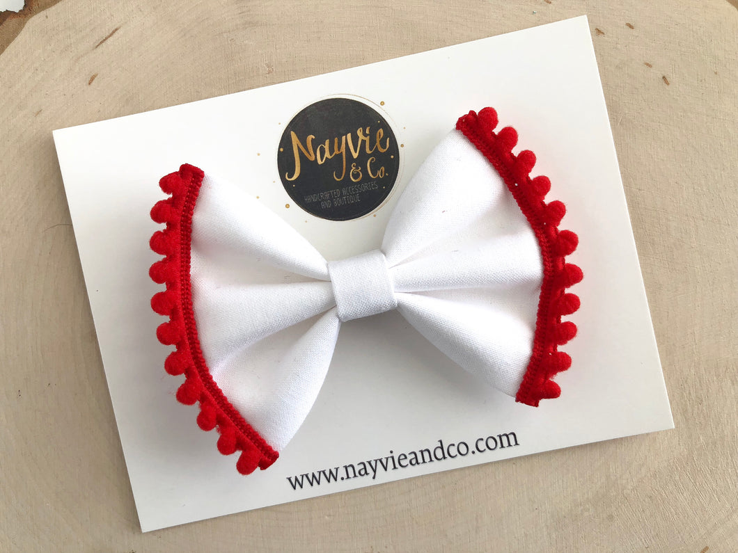 White with Red Pompom Fabric Bow