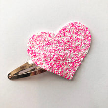 Hugs and Kisses Glitter Heart Snap Clip