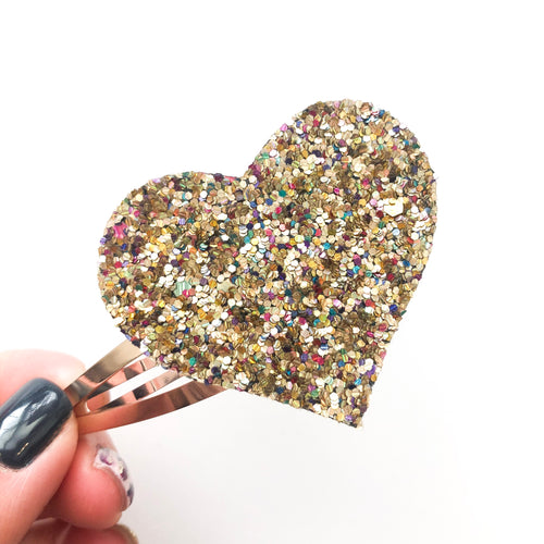 Crown Jewels Glitter Heart Snap Clip