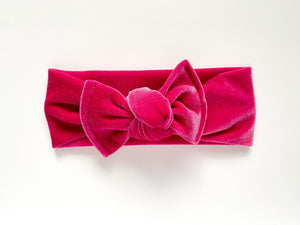 Party Pink Velvet Chunky Knotted Headwrap