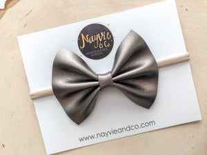 Smooth Gunmetal Faux Leather Bow