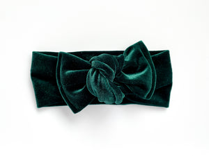 Evergreen Velvet Chunky Knotted Headwrap