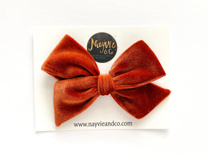 Rust Orange Velvet Hand-tied Bow