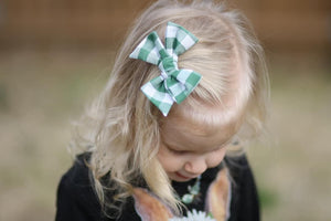Green and White Gingham Hand-tied Bow