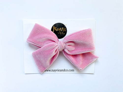 Light Pink Velvet Hand-tied Bow