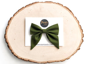 Olive Fabric Sailor Bow