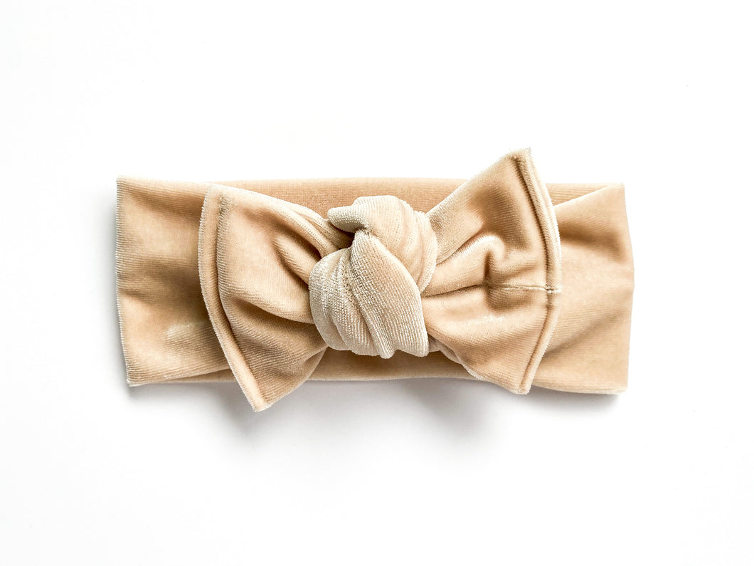 Champagne Velvet Chunky Knotted Headwrap