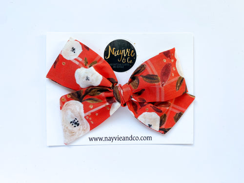 Plaid Floral Hand-tied Bow