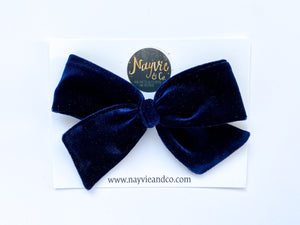 Navy Blue Velvet Hand-tied Bow