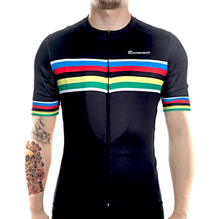 "Bike Jersey's Racmmer Short Sleeve ""Black Rainbow"" Jersey"