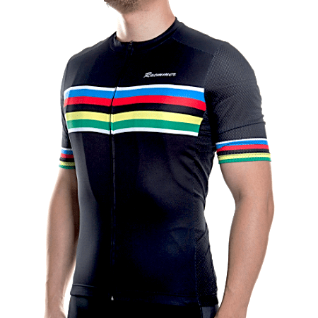 "Bike Jersey's S Racmmer Short Sleeve ""Black Rainbow"" Jersey"