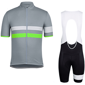 "Parc Jersey S Mens ""Grey Stripe"" Cycling Set (short sleeve/pants)"