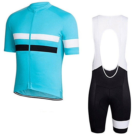 "Parc Jersey S Mens ""Turquoise/White Stripe"" Cycling Set (short sleeve/pants)"