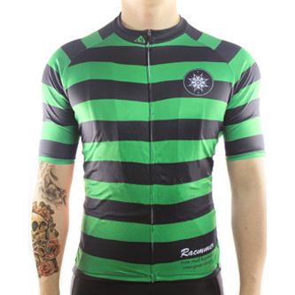 "Mens ""Rugby Style"" (green/black) Cycling Jersey"