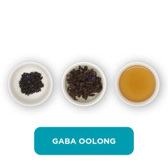 Gaba Oolong loose leaf tea – three cups showing the plain leaf, the unfurled leaf with the water added and then the final brew of tea.