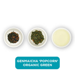 Genmaicha 'Popcorn' Organic Green loose leaf tea – three cups showing the plain leaf, the unfurled leaf with the water added and then the final brew of tea.