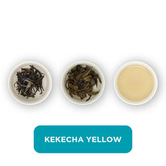 Kekecha Yellow loose leaf tea – three cups showing the plain leaf, the unfurled leaf with the water added and then the final brew of tea.