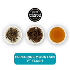 Peregrine Mountain 1st Flush loose leaf tea – three cups showing the plain leaf, the unfurled leaf with the water added and then the final brew of tea.
