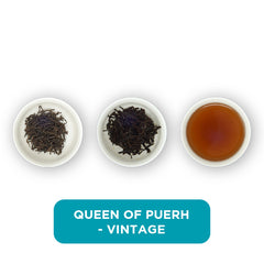 Queen of Puerh loose leaf tea – three cups showing the plain leaf, the unfurled leaf with the water added and then the final brew of tea.