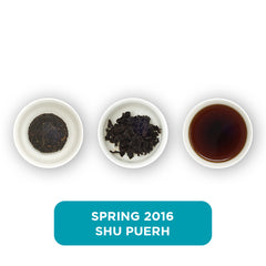 Spring 2016 Shu Puerh loose leaf tea – three cups showing the plain leaf, the unfurled leaf with the water added and then the final brew of tea.