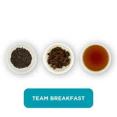 Team Breakfast loose leaf tea – three cups showing the plain leaf, the unfurled leaf with the water added and then the final brew of tea.