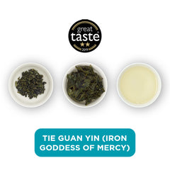 Tie Guan Yin loose leaf tea – three cups showing the plain leaf, the unfurled leaf with the water added and then the final brew of tea.