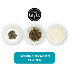 A product image featuring Jasmine Dragon Pearls. It shows three cups in a row; the first has the pearls in, the second shows them with water added and unfolded, the third is the brewed tea.